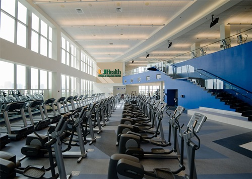 Interior shot of aerobic equipment at the UHealth Fitness & Wellness Center