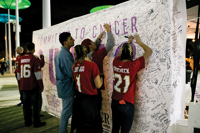Thousands of Florida Panthers fans and others signed the Sylvester <strong>Committed to Cancer Cures</strong> wall erected outside the arena during each of the Hockey Fights Cancer games.