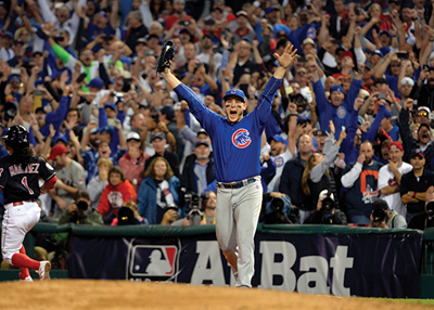 Anthony Rizzo celebrates catching the final out during the game leading to the Cubs' World Series victory.
