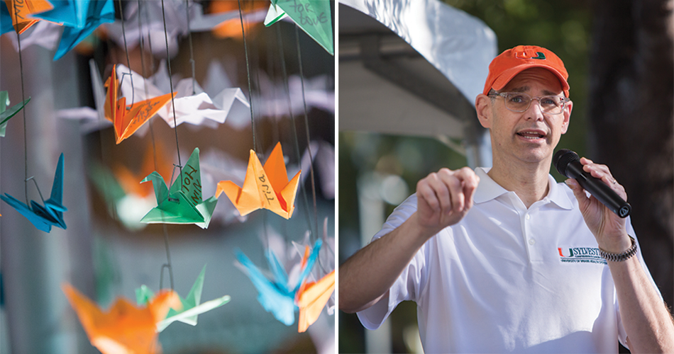 From left to right: More than 1,500 origami paper cranes with words of encouragement, Adam E. Carlin addresses participants at the start of the DCC Miami 35