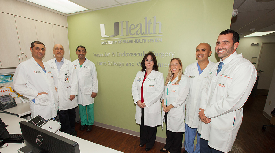 Vascular Surgery Team posing for a group photo at the University of Miami Health System