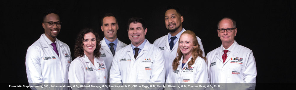 From left: Stephen Henry, D.O., Julianne Munoz, M.D., Michael Baraga, M.D., Lee Kaplan, M.D., Clifton Page, M.D., Carolyn Kienstra, M.D., Thomas Best, M.D., Ph.D.